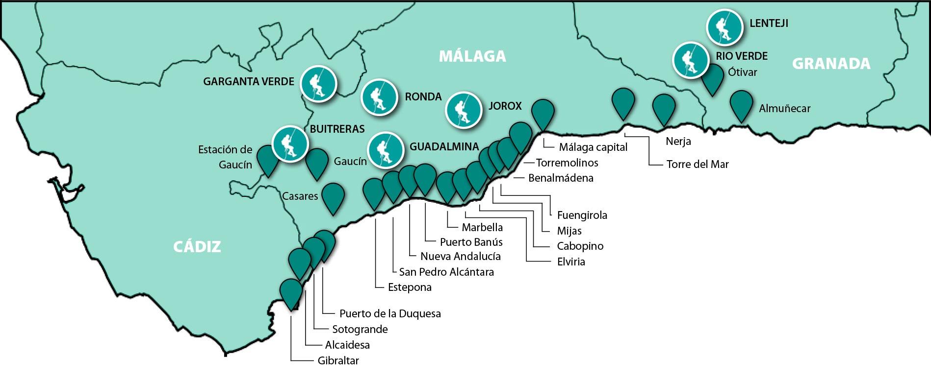 Mapa de ciudades para servicio de transfer